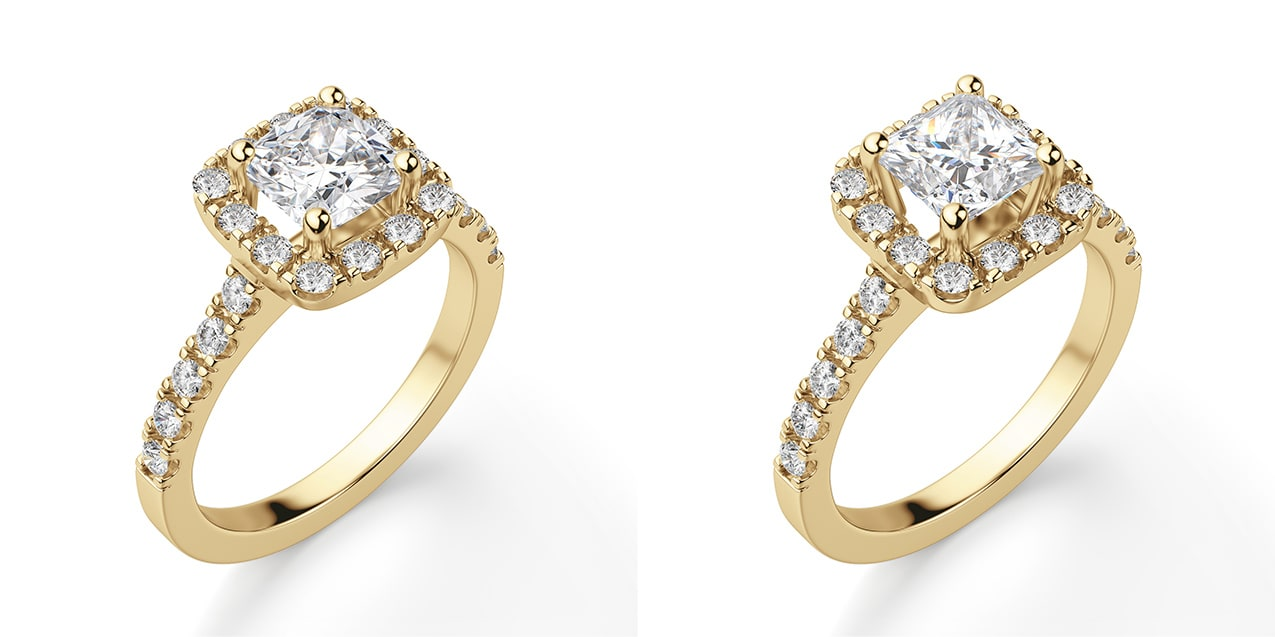 A halo engagement ring setting