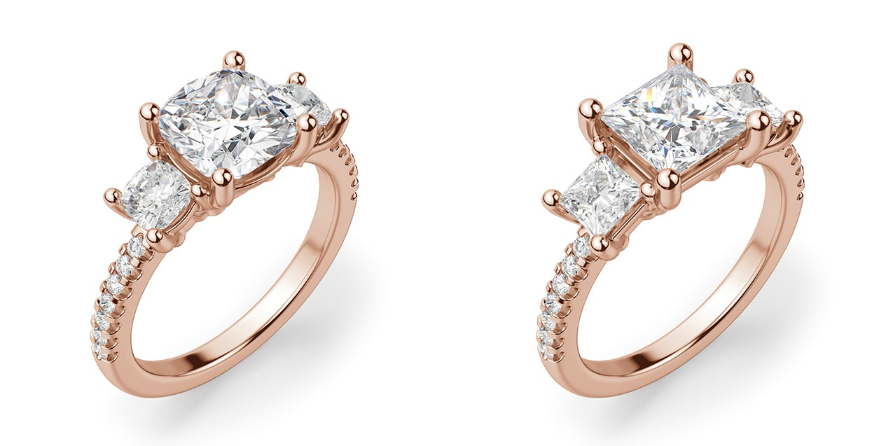 A three stone engagement ring setting