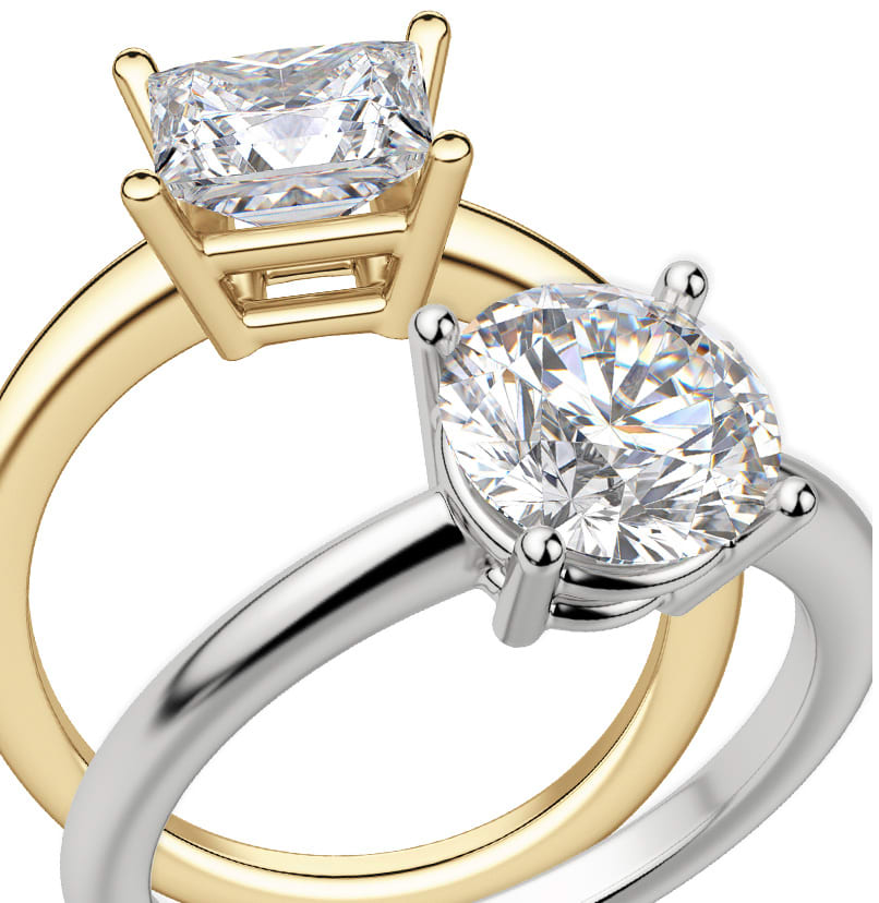 Two solitaire engagement ring settings