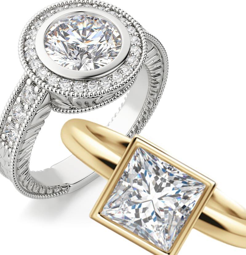 Two bezel set engagement ring settings