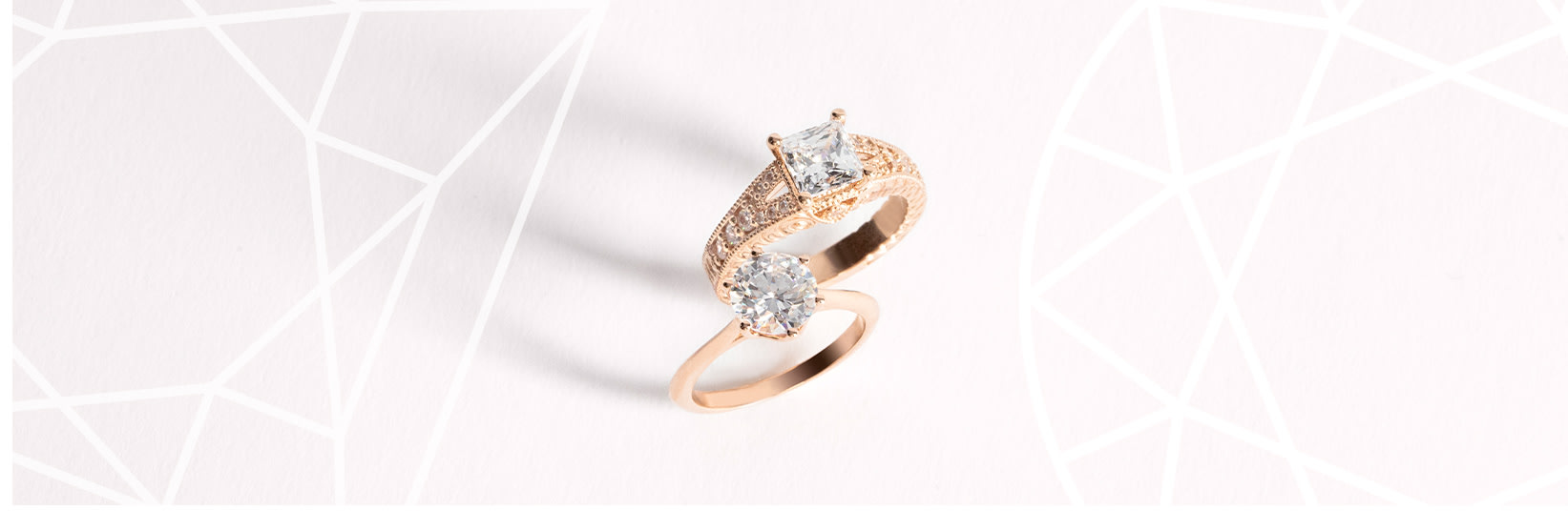A princess cut engagement ring and a round cut engagement ring side-by-side