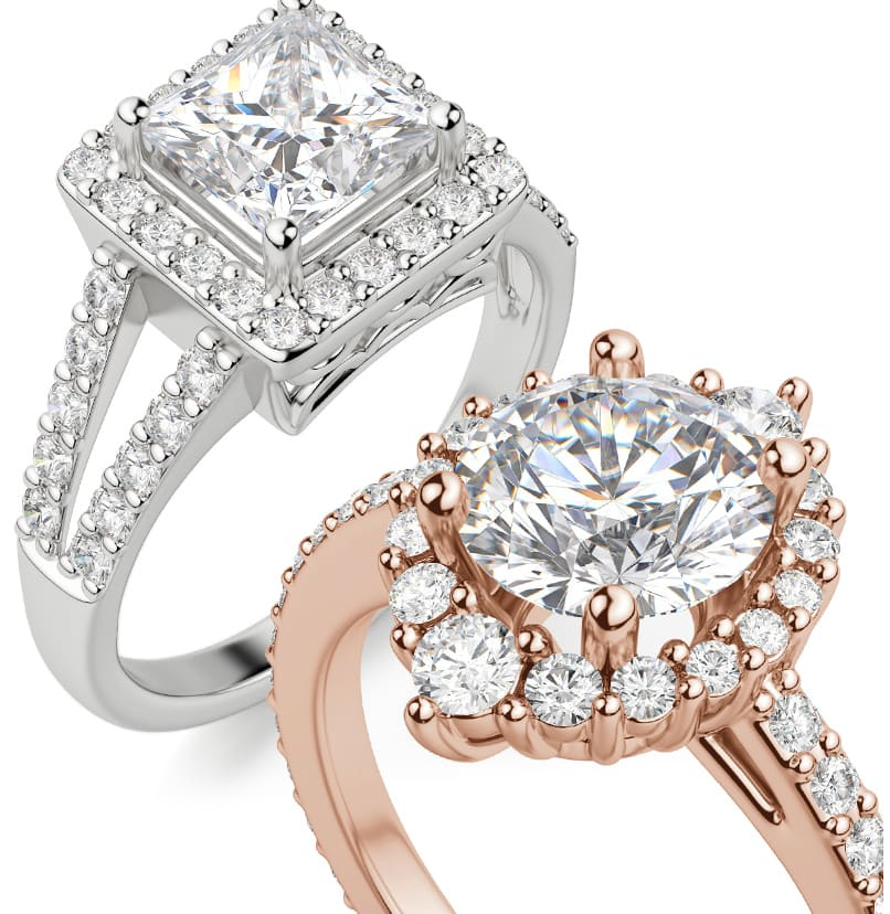 Two halo engagement ring settings