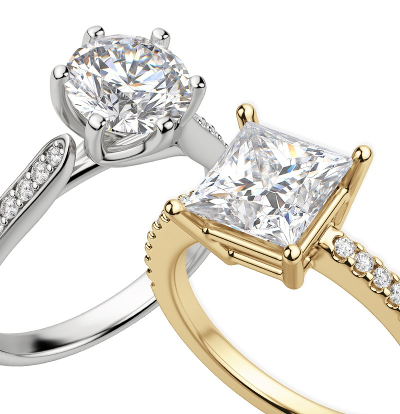 Two accented engagement ring settings