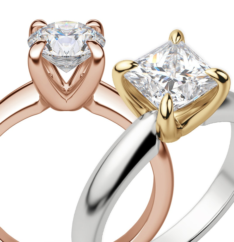 Two prong engagement ring settings