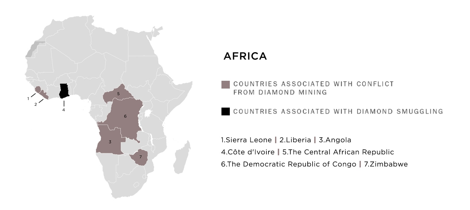 Map of countries in Africa associated with conflict and smuggling