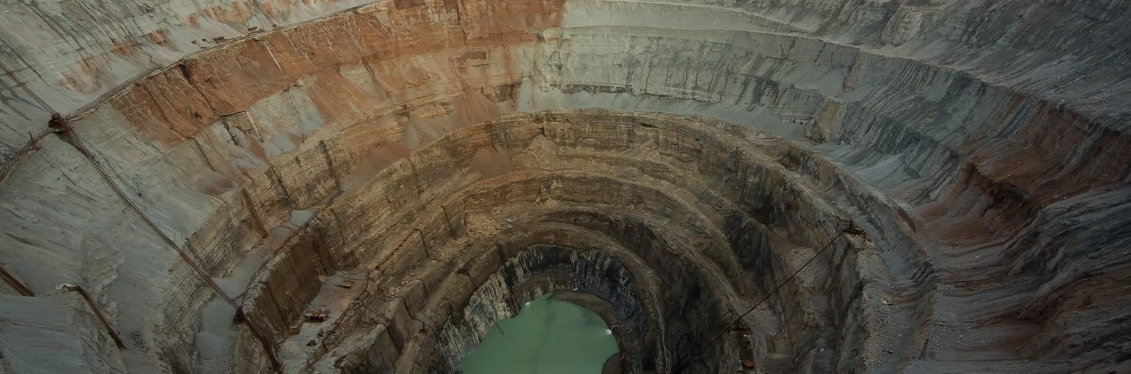 Aerial image of a diamond mine
