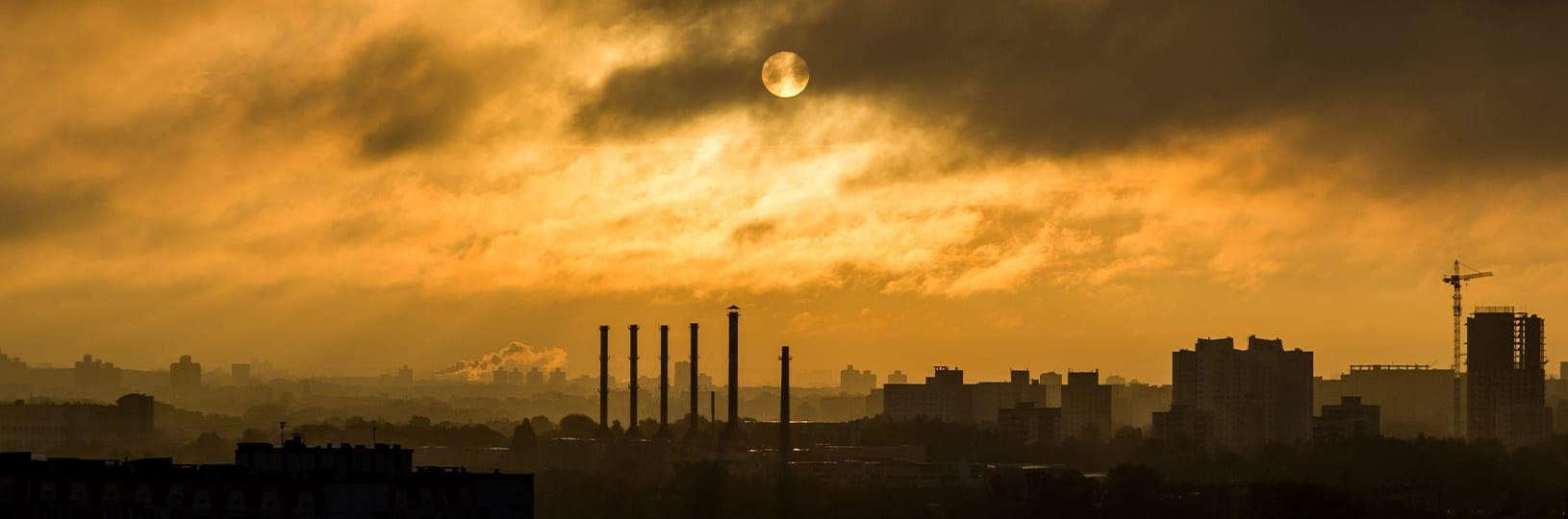 Smog coating a city skyline