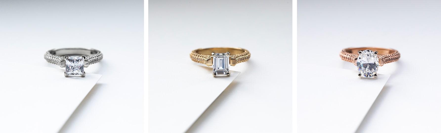 A princess cut pave engagement ring