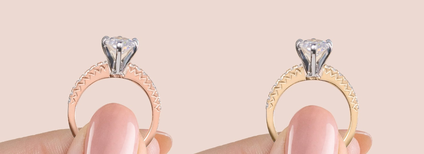 A rose gold and a gold engagement ring compared side-by-side