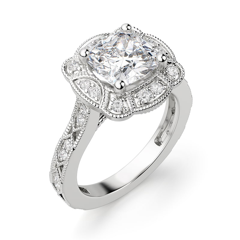 A lab diamond engagement ring in a halo setting