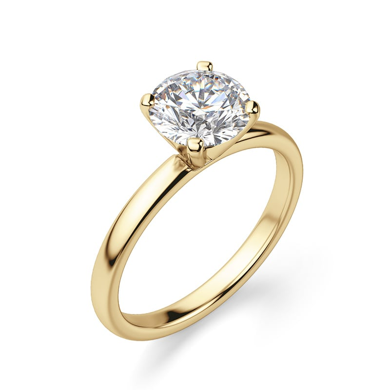 A solitaire engagement ring