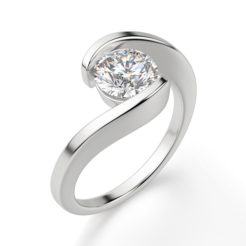 A tension set engagement ring