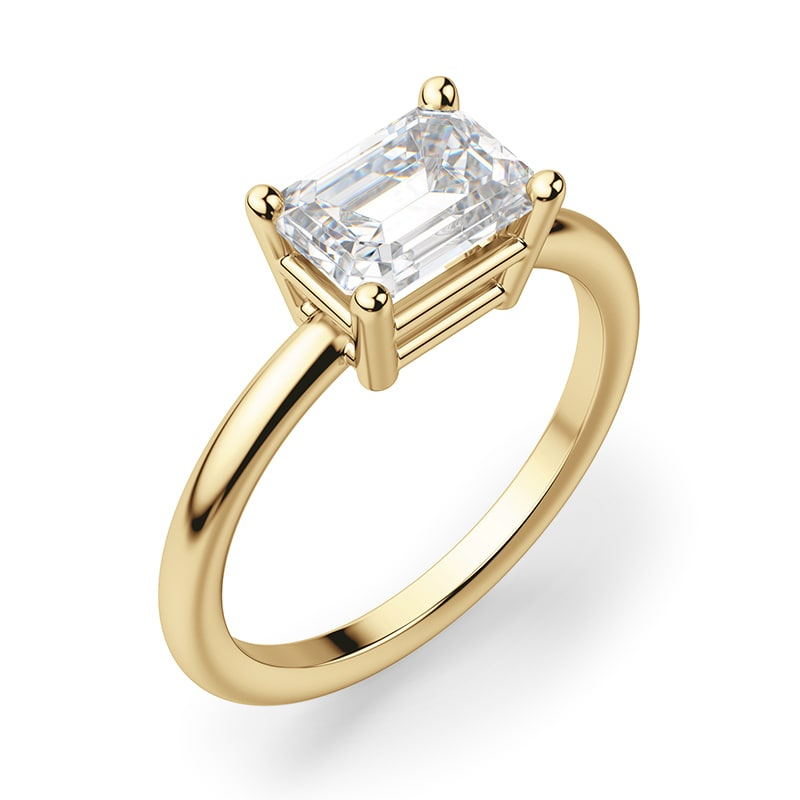 An east-west engagement ring