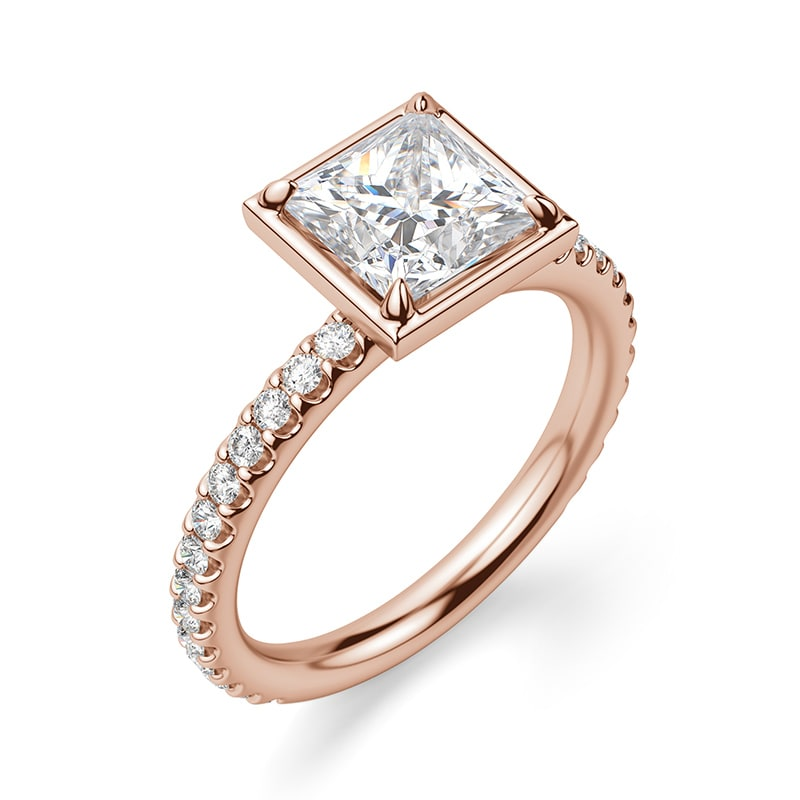 A bezel set engagement ring