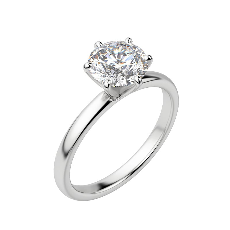 A round cut lab grown diamond fixed upon a solitaire band