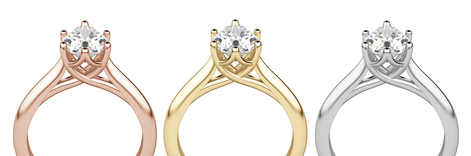 Rose gold, yellow gold and white gold all make for beautiful rings