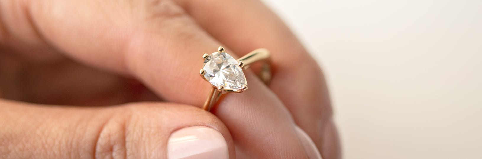 A pear cut engagement ring