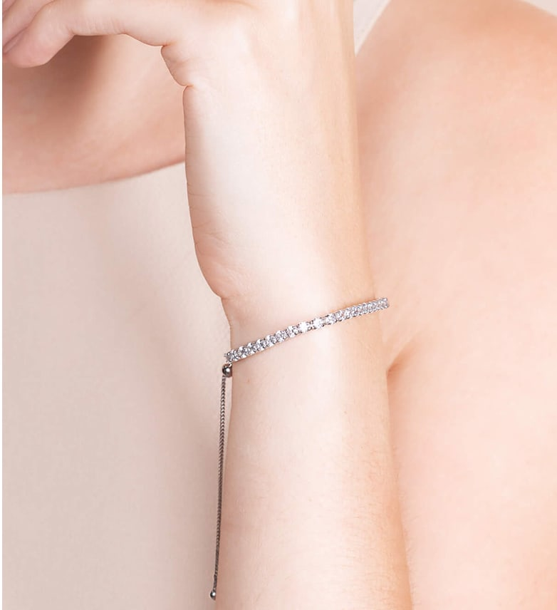 Image of a dainty accented silver bracelet