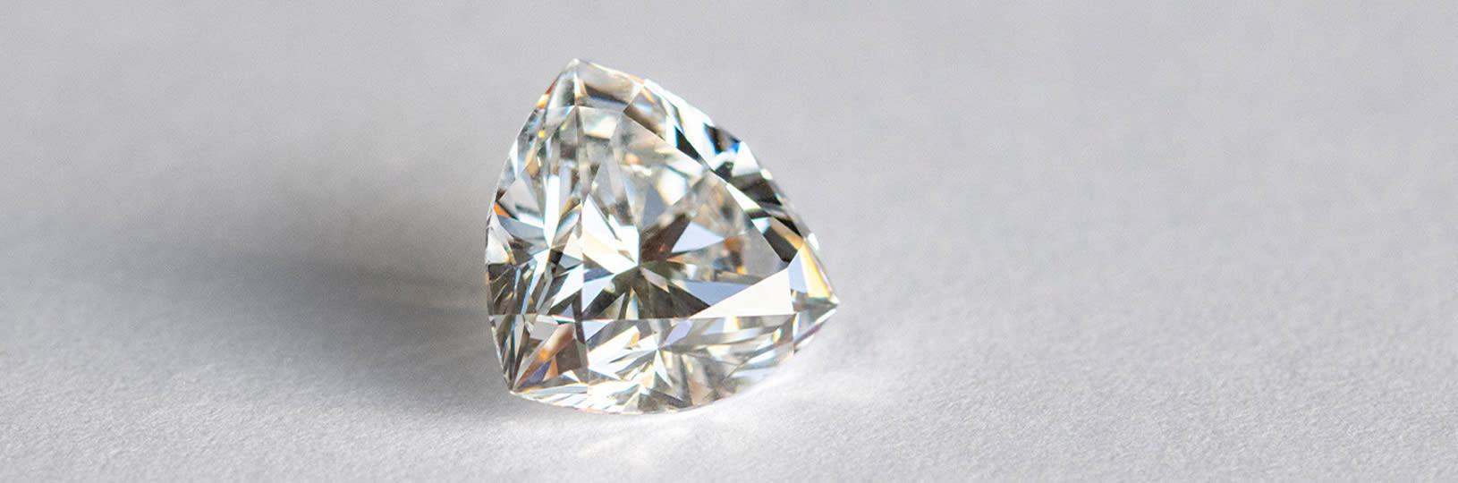 A closeup image of a lab grown diamond