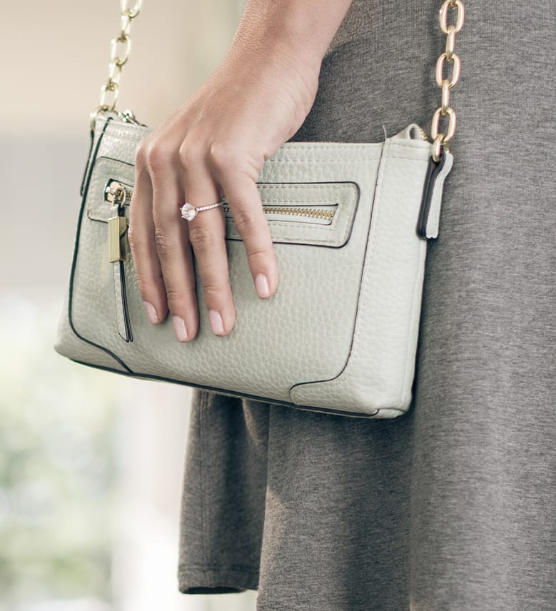 Image of a woman with a leather purse