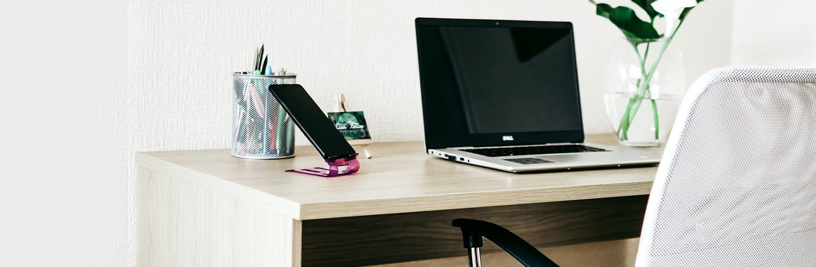 A desk setup in someone's home office