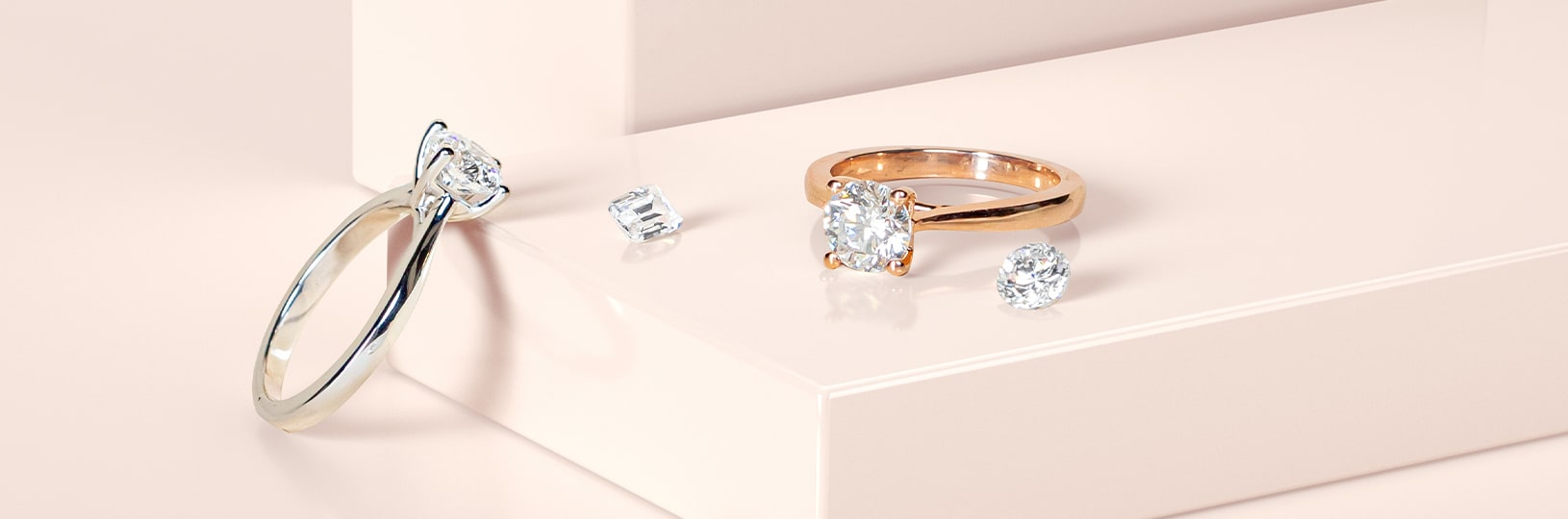 Two lab diamond engagement rings