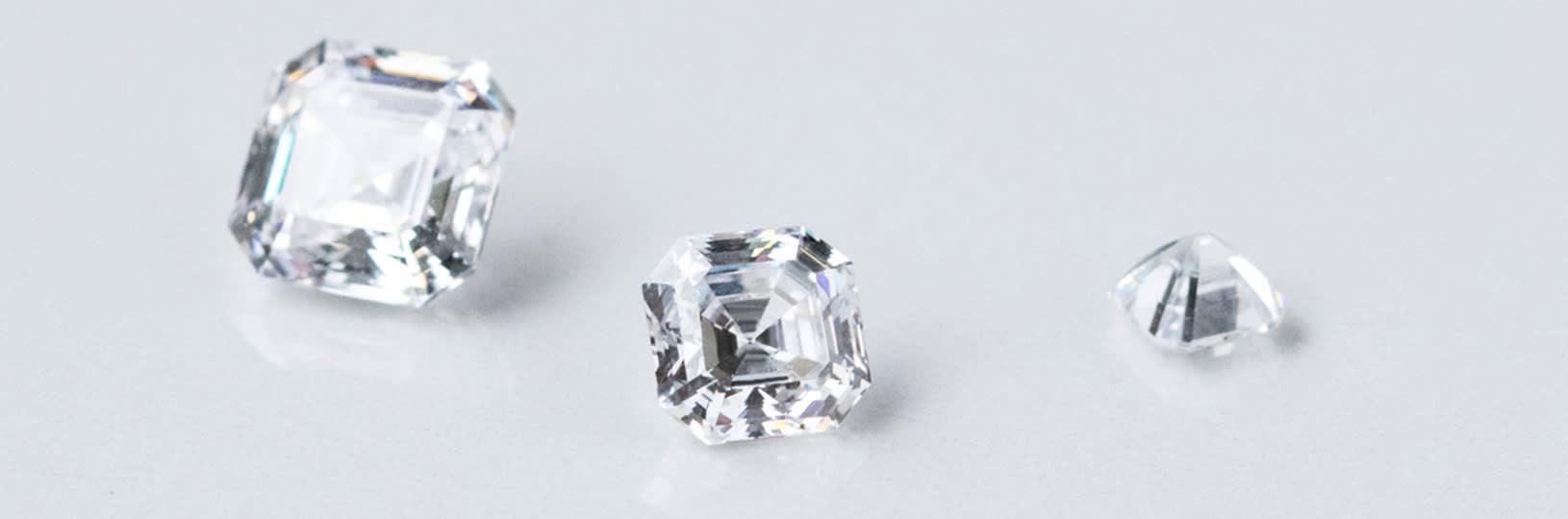 A close up image of three diamond simulants