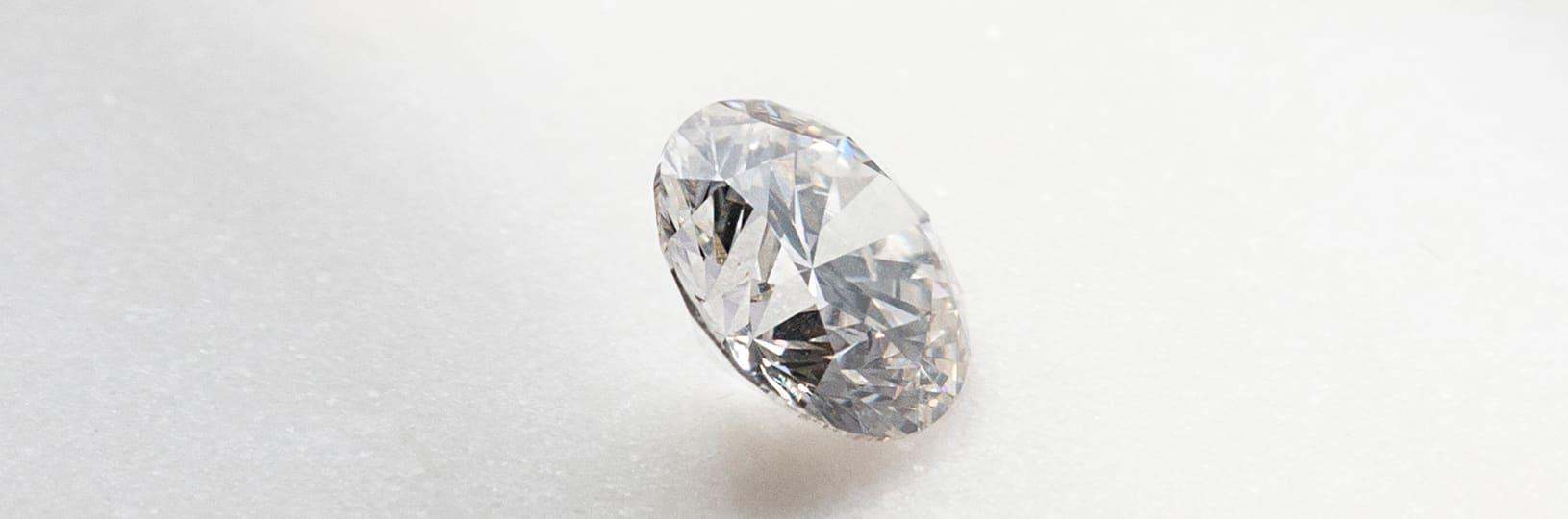 Close up image of an oval cut lab grown diamond